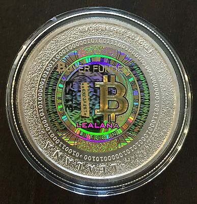 """LEALANA Physical Bitcoin 2013 Silver .50 GOLD/GREEN   """"Unfunded"""" like CASASCIUS"""