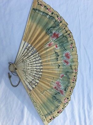 Vintage Chinese Hand Painted Paper Fan
