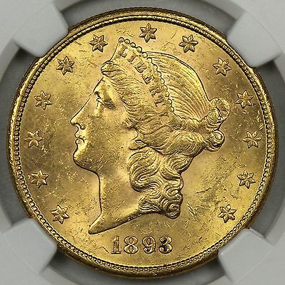 Ngc Ms62 1893-S $20 Gold Liberty Double Eagle   (Bc01)