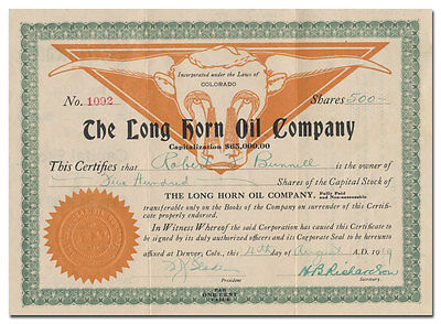 Long Horn Oil Company Stock Certificate