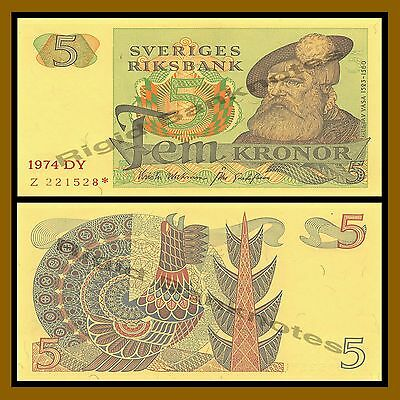 Sweden 5 Kronor, 1974 P-51 Replacement * Star Unc