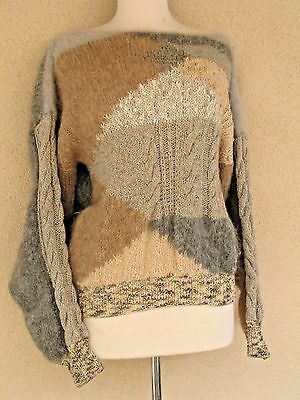 Vintage Hand Knit Mohair Blend Sweater Large Xlarge