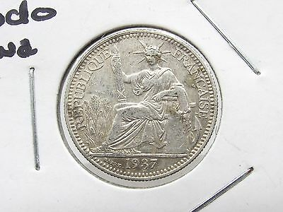 Silver Coin 1937 French Indo China 10 Cent Antique Free Shipping