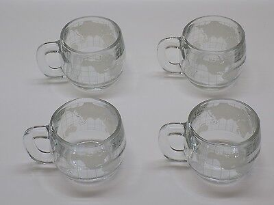 Set of 4 Nestle Nescafe Globe World Map Glass Coffee Mugs Cups Vintage 1970's