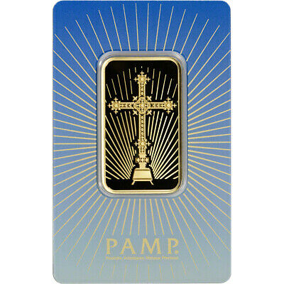 1 oz. Gold Bar - PAMP Suisse - Roman Cross - 999.9 Fine in Assay