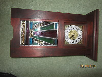 art and crafts red cedar clock with leadlight insert
