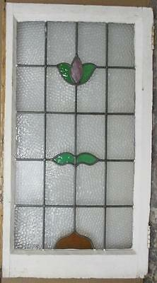 "LARGE OLD ENGLISH LEADED STAINED GLASS WINDOW Pretty Lofty Floral 20.75"" x 37.5"""