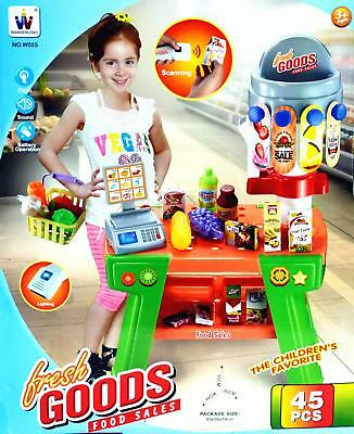 Kid Pretend Toy Food Shopping Stand Cash Register Set 45pcs #W055