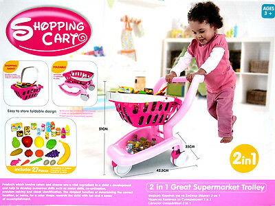 New Kid Pretend Toy 2in1 Foldable Food Shopping Trolley Basket Set (Pink)