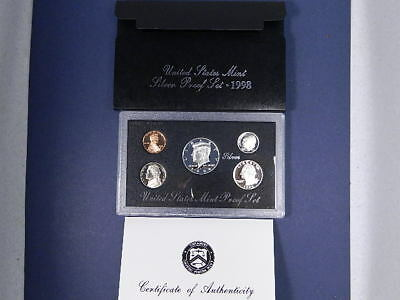 1998-S US United States Mint Silver Proof 5 Coin Set Complete w/ Box & COA