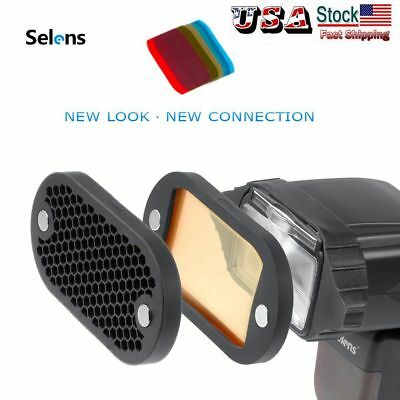 Selens Magnetic Flash Honeycomb Grid Color Filter Kit For Yongnuo Canon Godox US