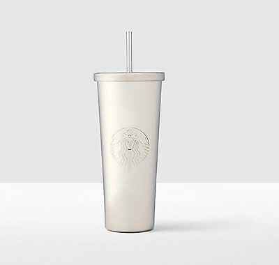 NEW STARBUCKS SILVER SHINY COLD CUP LOGO RARE STAINLESS STEEL TUMBLER 24 fl oz