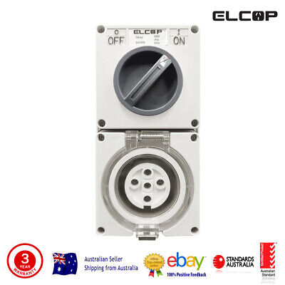 Elcop 5PIN 10A 3 Phase Switched Socket Outlet (SAA APPROVED, 2 YEAR WARRANTY)
