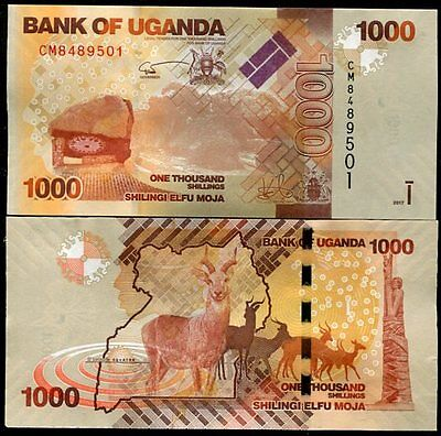 Uganda 1000 1,000 Shillings 2017 P 49 New Sign Date Unc