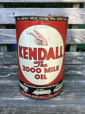 1940's KENDALL 5 quart Motor Oil Can - Gas & Oil