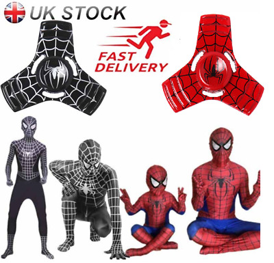 Men's/Kids Spiderman Bodysuit Black/Red Costume Superhero Figure Cosplay Clothes