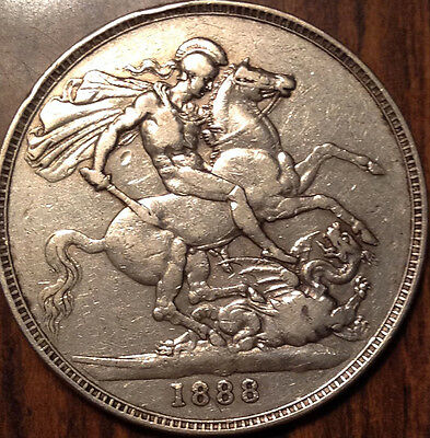 1888 Uk Gb Great Britain Silver Crown A Very Good Example!