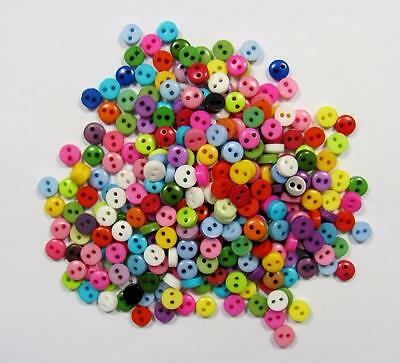 BB BUTTONS 6mm tiny dolly round mixed pack of 50 BULK sewing craft scrapbooking