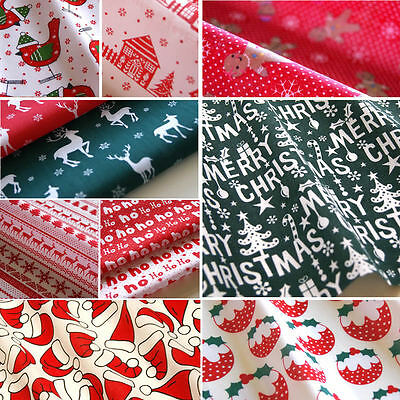 Christmas Fabric Fat Quarters Polycotton Reindeer Holly Trees Green Red Bundles