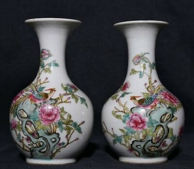 Pair of Exquisite Antique Chinese Porcelain Bottles Vases Marked JiaQing FA328
