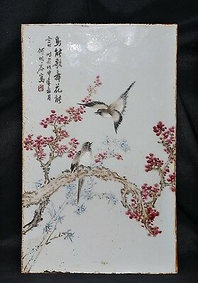 Rare Old Chinese Hand Painting Landscape Famille Porcelain Panel Plaque FA376