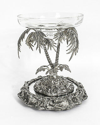 Antique Victorian Silver Plated Palm Tree Centrepiece Mirrored Base C.1860
