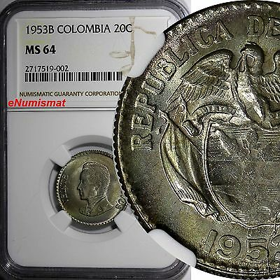 COLOMBIA Silver 1953-B 20 Centavos NGC MS64 Light Toned 2 YEARS TYPE KM# 213