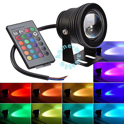 DC 12V 10W RGB LED Waterproof Outdoor Flood 16 Color Changing Spot Lights Lamps