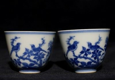 Pair Of Unique Chinese Antique Pottery Porcelain Tea Cups Mark YongZheng FA217