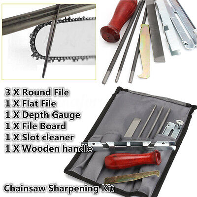8PC chain saw sharpening file and guide kit w/ case for all bars/chains chainsaw