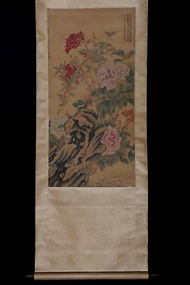 Long Rare Old Chinese Wall Hanging Scroll Hand Painting Landscape Marked PM035