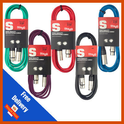Stagg 3M XLR Male to Female Microphone Lead & Audio Signal Cable Balanced Colour