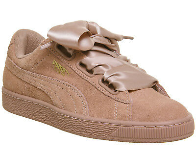 new style e95f1 873a3 WOMENS PUMA SUEDE Heart Trainers CAMEO BROWN SATIN BOW Trainers Shoes
