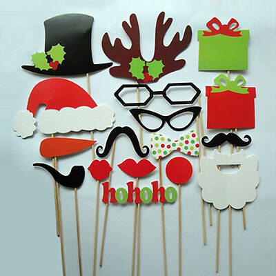 Photo Booth DIY Mask Mustache Stick Props Wedding Birthday Christmas Party 17pcs