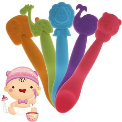 Infant Baby Animal Feeding Silicone Spoon Kids Weaning Tableware Gifts Utensils