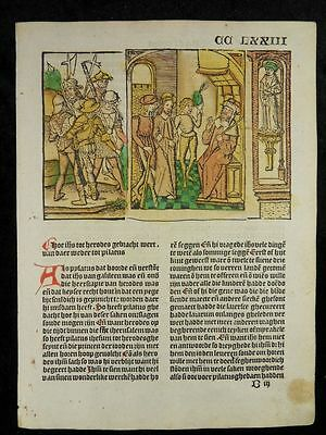 Christ Before Pilate Vita Christi Dutch Incunable Woodcut 1499 Inkunabel Pilates