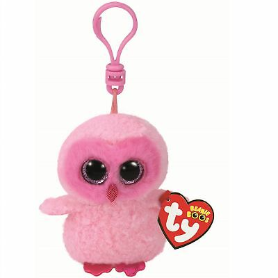 Ty Beanie Babies 35039 Boos Twiggy the Pink Owl Boo Key Clip