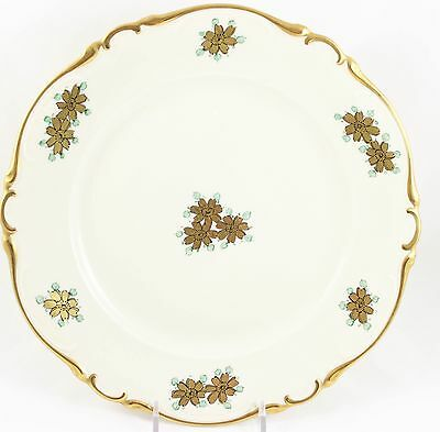 Set 10 Dinner Plates Special Hand Painted Heinrich China Gold Blue Cream Floral