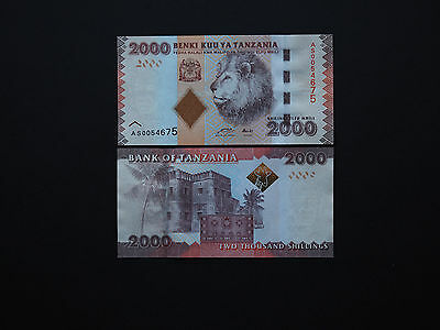 TANZANIA BANKNOTES   2000 SHILLINGS  p42   2010  AFRICAN LION ISSUE    MINT UNC