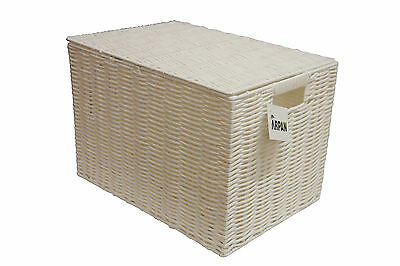 Storage Basket White Resin Woven Hamper Toy Box With Lid in 2 Size Ideal Gift