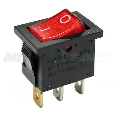 SPST KCD1 Mini Rocker Switch w/ Illuminated Red Lamp On-Off 6A/250VAC USA SELLER