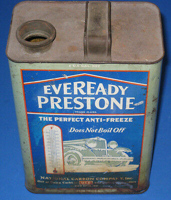 Vintage Eveready Prestone Anti-Freeze Can 1929 Empty Gallon Oil / Gas Antique