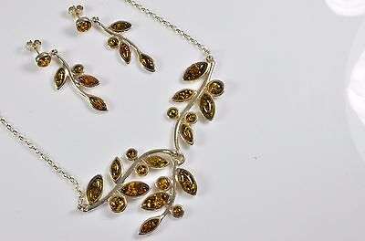 Green Baltic Amber fancy leaf 925 Sterling Silver matching Necklace & Earrings