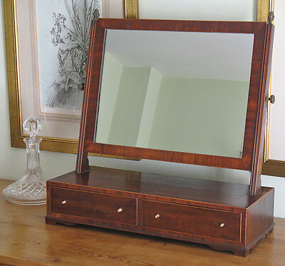 Early 19thC Mahogany & Boxwood Strung Dressing Mirror on 2-Drawer Cabinet
