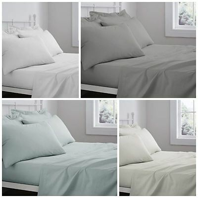 Catherine Lansfield 100% Cotton 'Sheeting' Fitted Flat Sheet Pillowcase