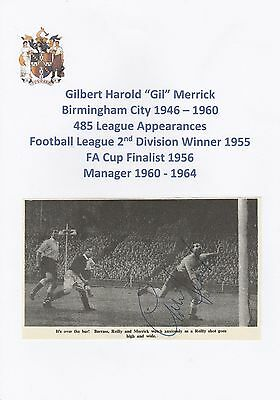 Gil Merrick Birmingham City 1946-1960 Rare Original Hand Signed Annual Cutting