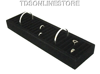 Large 21 Slot Bracelet And Cuff Storage/Display Covered In Black Velvet