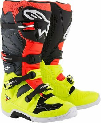 Alpinestars Tech 7 Yellow Fluo/Red Fluo/Gray/Black Motocross Boots