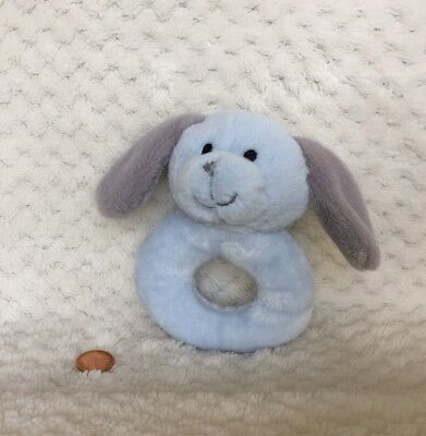 Wendy Bellissimo Blue Puppy Dog Plush Baby Rattle Grey Gray Ears Tail Lovey