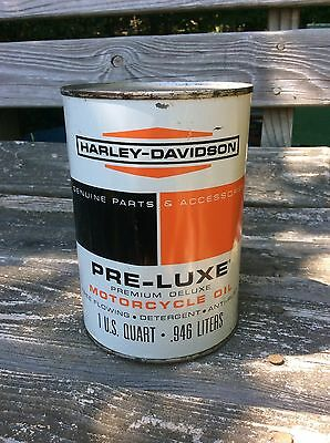 1960's HARLEY DAVIDSON PRE-LUX HD Racing Error Motor Oil Can - 1 quart